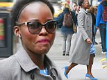 """EXCLUSIVE: Lupita Nyong'o wears blue colored shoes paired with polka-dotted blue dress under a jacket at her Broadway play """"Eclipsed"""" in New York City.\n\nPictured: Lupita Nyong'o\nRef: SPL1244034  130316   EXCLUSIVE\nPicture by: Splash News\n\nSplash News and Pictures\nLos Angeles: 310-821-2666\nNew York: 212-619-2666\nLondon: 870-934-2666\nphotodesk@splashnews.com\n"""