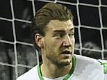 Wolfsburg's Danish forward Nicklas Bendtner (L) runs after scoring during the German first division Bundesliga football match Wolfsburg vs Leverkusen in Wolfsburg on October 31, 2015. \nAFP PHOTO / TOBIAS SCHWARZ\n\nRESTRICTIONS: DURING MATCH TIME: DFL RULES TO LIMIT THE ONLINE USAGE TO 15 PICTURES PER MATCH AND FORBIDS IMAGE SEQUENCES TO SIMULATE VIDEO.\n== RESTRICTED TO EDITORIAL USE ==\nFOR FURTHER QUERIES PLEASE CONTACT DFL DIRECTLY AT + 49 69 650050.        (Photo credit should read TOBIAS SCHWARZ/AFP/Getty Images)