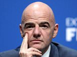 The new FIFA President Gianni Infantino looks on during a press conference after the Extraordinary FIFA Congress at Hallenstadion on February 26, 2016 in Zurich, Switzerland.  (Photo by Richard Heathcote/Getty Images)