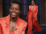LATE NIGHT WITH SETH MEYERS -- Episode 339 -- Pictured: Actress Lupita Nyong'o  arrives on March 14, 2016 -- (Photo by: Lloyd Bishop/NBC/NBCU Photo Bank via Getty Images)