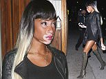 West Hollywood, CA - Model Winnie Harlow is looking sexy in a short skirt black dress with black knee high black boots parties at The Nice Guy with a friend. AKM-GSI          March 14, 2016 To License These Photos, Please Contact : Steve Ginsburg (310) 505-8447 (323) 423-9397 steve@akmgsi.com sales@akmgsi.com or Maria Buda (917) 242-1505 mbuda@akmgsi.com ginsburgspalyinc@gmail.com