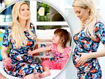**EXCLUSIVE**  Date: March 10th 2016  Photo Credit: MOVI Inc. Former Playboy pin up Holly Madison is glowing and radiant in a floral print dress showing off her growing baby bump as she gets playful for an at home photo shoot with her 2-year-old daughter Rainbow in Los Angeles,CA. Madison and her husband Pasquale Rotella are expecting their second child this Summer.