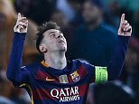 Barcelona's Lionel Messi, center, celebrates after scoring his side's third goal during the Champions League round of 16 second leg soccer match between FC Barcelona and Arsenal FC at the Camp Nou stadium in Barcelona, Spain, Wednesday, March 16, 2016. (AP Photo/Manu Fernandez)
