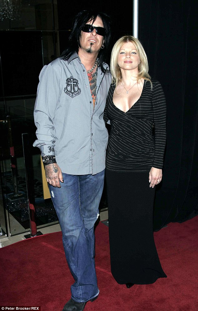 Happier times: Seen here in 2005, Nikki Sixx and Donna were married for nine years and split in 2007