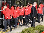 17 Mar 2016 - Manchester - UK  Liverpool FC Manager Jurgen Klopp Seen Leaving his Manchester hotel with his team Liverpool FC ahead of their Europa League match against Manchester United  BYLINE MUST READ : XPOSUREPHOTOS.COM  ***UK CLIENTS - PICTURES CONTAINING CHILDREN PLEASE PIXELATE FACE PRIOR TO PUBLICATION ***  **UK CLIENTS MUST CALL PRIOR TO TV OR ONLINE USAGE PLEASE TELEPHONE   44 208 344 2007 **