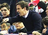 Gary Neville Manager of Valencia goes to sit in the stands behind the dugout after arguing with the decision on Athletic Bilbao's second goal during the UEFA Europa League Round of 16 match between Valencia CF and Athletic Club Bilbao played at The Mestalla Stadium, Valencia on March 17th 2016