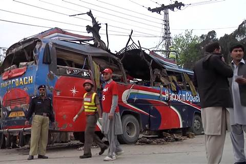 Bomb Targets Bus Carrying Pakistan Government Workers