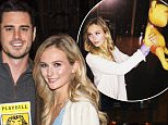 "NEW YORK, NY - MARCH 17:  ""Bachelor"" Ben Higgins (R) and fiancee Lauren Bushnell visit ""The Lion King"" on Broadway at Minskoff Theatre on March 17, 2016 in New York City.  (Photo by Mark Sagliocco/WireImage)"