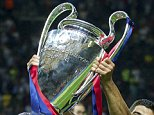 Luis Suarez of FC Barcelona with Champions League trophy during the UEFA Champions League  final match between Barcelona and Juventus on June 6, 2015 at the Olympic stadium in Berlin, Germany.