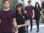 EXCLUSIVE: 5SOS member Luke Hemmings and girlfriend Arzaylea shop at The Grove in West Hollywood, California....Pictured: Luke Hemmings, Arzaylea..Ref: SPL1248702  170316   EXCLUSIVE..Picture by: Splash News....Splash News and Pictures..Los Angeles: 310-821-2666..New York: 212-619-2666..London: 870-934-2666..photodesk@splashnews.com..