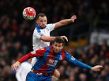 Leicester City's English midfielder Danny Drinkwater (Top) challenges Crystal Palace's Yohan Cabaye during the English Premier League football match between Crystal Palace and Leicester City at Selhurst Park in south London on March 19, 2016. / AFP PHOTO / ADRIAN DENNIS / RESTRICTED TO EDITORIAL USE. No use with unauthorized audio, video, data, fixture lists, club/league logos or 'live' services. Online in-match use limited to 75 images, no video emulation. No use in betting, games or single club/league/player publications.  / ADRIAN DENNIS/AFP/Getty Images