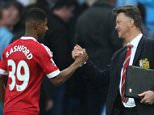 Mar 20th 2016 - Manchester, UK - MAN CITY V MAN UTD - Manchester United's manager Louis van Gaal congratulates Marcus Ashford after the game.   PIcture by Ian Hodgson/Daily Mail