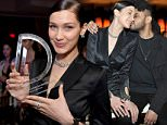 """WEST HOLLYWOOD, CA - MARCH 20:  EXCLUSIVE COVERAGE  Model Bella Hadid, with her Model of the Year award, attends The Daily Front Row """"Fashion Los Angeles Awards"""" 2016 at Sunset Tower Hotel on March 20, 2016 in West Hollywood, California.  (Photo by Stefanie Keenan/Getty Images for The Daily Front Row)"""