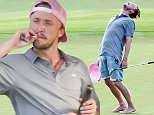 17 Mar 2016 - Maui, HI - USA * PREMIUM EXCLUSIVE - MUST CALL FOR PRICIING *  *STRICT WEB EMBARGO UNTIL 12.30pm GMT on SUNDAY, 20th MARCH, 2016* **STRICTLY AVAILABLE FOR UK AND GERMANY USE ONLY** Young English star Tom Felton was seen sipping on Champagne and enjoying a suspicious looking cigarette while hitting the 18th hole at a beautiful golf course in Lahaina. He was also seen skipping around the green barefoot and screaming.  Felton, who plays malevolent Malfoy in the money-spinning Harry Potter movies, defended co-star Daniel Radcliffe back in 2012, after reports that the boy wizard was caught smoking cannabis. FeltonÌs bad boy character Draco is renowned for his sinister sneer and shock of white blonde hair Ò which the actor said he was more than happy to be parting with. BYLINE MUST READ : AKM-GSI-XPOSURE ***UK CLIENTS - PICTURES CONTAINING CHILDREN PLEASE PIXELATE FACE PRIOR TO PUBLICATION *** *UK CLIENTS MUST CALL PRIOR TO TV OR ONLINE USAGE PLEASE TELEPHONE 0208 344 2007*