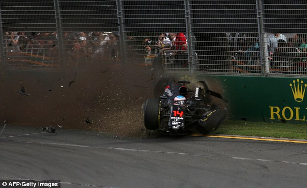 Alonso was unable to avoid a heavy impact into the barriers at the Australian Grand Prix following his collision