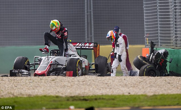 Gutierrez eventually climbs out after escaping unscathed too as Alonso takes a moment to get his breath back