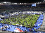 Spectators on the the pitch of the Stade de France stadium after the international friendly soccer France against Germany, Friday, Nov. 13, 2015 in Saint Denis, outside Paris. At least 35 people were killed in shootings and explosions around Paris, many of them in a popular theater where patrons were taken hostage, police and medical officials said Friday.  Two explosions were heard outside the Stade de France stadium. (AP Photo/Michel Euler) PARIS TERROR ATTACKS