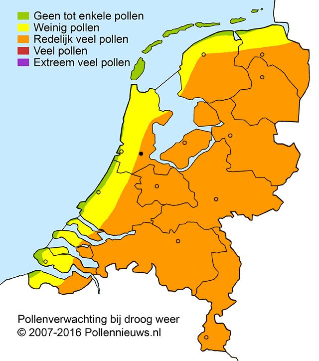 De actuele pollenweerkaart.