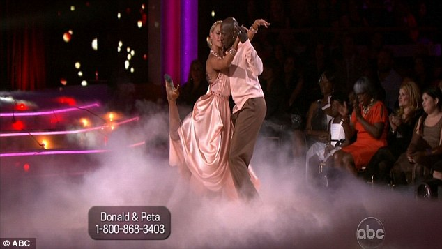 Let's get ready to rumba: Donald and professional Peta Murgatroyd put in a powerful performance on tonight's show