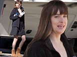 19.March.2016 - Vancouver, BC - Canada\n***AVAILABLE FOR UK AND GERMANY SALE ONLY ***\n*EXCLUSIVE ALL ROUND PICTURES*  \n Dakota Johnson leaves her trailer in a black mini skirt and brown Ugg boots, heading to the set of '50 Shades Darker' New Westminster, BC.\nBYLINE MUST READ: AKM-GSI-XPOSURE\n***UK CLIENTS - PICTURES CONTAINING CHILDREN PLEASE PIXELATE FACE PRIOR TO PUBLICATION ***\n*UK CLIENTS MUST CALL PRIOR TO TV OR ONLINE USAGE PLEASE TELEPHONE 0208 344 2007*