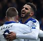 LONDON, ENGLAND - MARCH 19:  Riyad Mahrez (R) of Leicester City celebrates scoring his team's first goal with his team mate Jamie Vardy (L) during the Barclays Premier League match between Crystal Palace and Leicester City at Selhurst Park on March 19, 2016 in London, United Kingdom.  (Photo by Michael Regan/Getty Images)