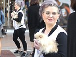 Exclusive... 52000457 Purple haired TV presenter Kelly Osbourne was spotted shopping at the Grove in Hollywood, California on March 19, 2016. While she was out, she carried her dog in her arms. FameFlynet, Inc - Beverly Hills, CA, USA - +1 (310) 505-9876