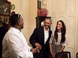 OBAMA in CUBA - Day 1 - The President and Malia share a laugh as Malia translates Spanish to English for her dad at a restaurant in Old Havana.