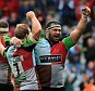 Roar: Quins celebrate their dramatic victory