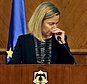 European Union Foreign Policy Chief Federica Mogherini, reacts to the latest news on the Brussels attacks, during a news conference with Jordanian Foreign Minister Nasser Judeh in Amman, Jordan, Tuesday, March 22, 2016. Mogherini, fighting back tears, has stopped short a news conference in Jordan after saying that ¿today is a difficult day,¿ in reference to the Brussels attacks. (AP Photo)