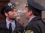 22 March 2016 - Los Angeles - USA  **** STRICTLY NOT AVAILABLE FOR USA ***  Jake Gyllenhaal and Jimmy Fallong spit food and drink over each other during hilarious sketch on The Tonight Show. The pair could hardly get through the sketch for laughing as they faced off against each other as police officers. Gyllenhaal was on the show to promote his new movie Demolition when Fallon joked the pair had once starred on a cop show in the 80s called Point Pleasasnt Police Department. ìWe played two detectives who couldnít see eye to eye,î Fallon told viewers. ìIíve had some pretty intense roles, but this was the most intense,î Gyllenhaal claimed. ìOur two characters were constantly yelling at each other and we got into some pretty messy situations,î Fallon reminisced, before pulling three 'clips out of the archives'.  The pair ended up covered in food and drink including coffee, pie, cream, prosecco, smoothies, apples and muffins as they spit at each other while speaking. Fallon also lost his
