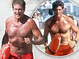 Exclusive... 52002903 Actor David Hasselhoff makes his long awaited return to the set of 'Baywatch' in Savannah, Georgia on March 22, 2016. David shows The Rock the proper way to jog on the beach before sitting down to enjoy a couple of ice cold beers. ***NO WEB USE W/O PRIOR AGREEMENT - CALL FOR PRICING*** Celebrities on the set of 'Baywatch' on March 22, 2016 in Savannah, Georgia.\nPictured: David Hasselhoff, Dwayne Johnson FameFlynet, Inc - Beverly Hills, CA, USA - +1 (310) 505-9876