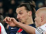 PSG's Zlatan Ibrahimovic kicks the ball during his French League One soccer match against Monaco, at the Parc des Princes stadium, in Paris, Sunday, March 20, 2016. (AP Photo/Thibault Camus)