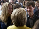 Democratic presidential candidate Hillary Clinton greets Laurene Powell Jobs, the widow Steve Jobs, left, and her son Reed Jobs after speaking about counterterrorism, Wednesday, March 23, 2016, at the Bechtel Conference Center at Stanford University in Stanford, Calif. (AP Photo/Carolyn Kaster)