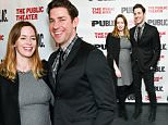 """Actor John Krasinski and wife Emily Blunt attend The Public Theater opening night celebration of  """"Dry Powder"""" on Tuesday, March 22, 2016, in New York. (Photo by Evan Agostini/Invision/AP)"""
