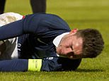 24/03/16 - U-21 CHAMPIONSHIP - GROUP 1    FRANCE U21 V SCOTLAND U21    STADE JEAN BOUIN, ANGERS    France captain Aymeric Laporte is injured (below)