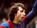 Mandatory Credit: Photo by Giuliano Bevilacqua/REX (1038619c).. Johan Cruyff playing for Barcelona 1978
