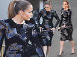 """Los Angeles, CA - Jennifer Lopez dazzles on the set of """"American Idol"""" in a sequin bodycon dress. The series finale of ÏAmerican IdolÓ is set for Thursday, April 7 after its 15 season run.    AKM-GSI        March 24, 2016 To License These Photos, Please Contact : Steve Ginsburg (310) 505-8447 (323) 423-9397 steve@akmgsi.com sales@akmgsi.com or Maria Buda (917) 242-1505 mbuda@akmgsi.com ginsburgspalyinc@gmail.com"""