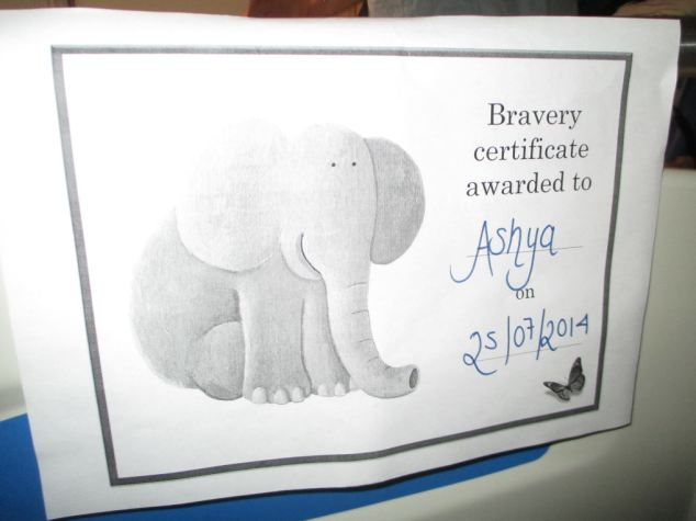 A photo posted on his brother's Facebook profile shows a bravery award Ashya was given in hospital