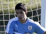Football Soccer - Uruguay's training - World Cup Qualifiers - Montevideo, Uruguay 21/3/16. Uruguay's National soccer team striker Luis Suarez participates in a training session in preparation for qualifying matches against Brazil and Peru. REUTERS/Andres Stapff
