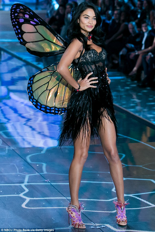 Leggy display: Shanina - pictured here at the 2015 Victoria's Secret Fashion Show in New York City - also lived up to her reputation as a style-conscious traveller with her collection of luxury accessories this weekend