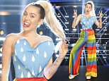 """THE VOICE -- """"Knockout Reality"""" -- Pictured: Miley Cyrus -- (Photo by: Trae Patton/NBC/NBCU Photo Bank via Getty Images)"""