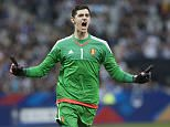 PARIS, FRANCE - JUNE 7: Thibaut Courtois #1 of Belgium reacts after his team scored during the international friendly game between France and Belgium at Stade de France on June 7, 2015 in Saint Denis near Paris, France. (Photo by Catherine Steenkeste/Getty Images)