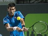 Novak Djokovic of Serbia in action at the Miami Open at Crandon Park, Key Biscayne, Miami, Florida, USA.