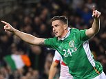 DUBLIN, IRELAND - MARCH 25:  Ciaran Clark of Republic of Ireland celebrates scoring the opening goal during the International Friendly match between Republic of Ireland and Switzerland at Aviva Stadium on March 25, 2016 in Dublin, Ireland.  (Photo by Shaun Botterill/Getty Images)