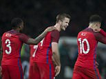 Eric Dier of England celebrates his winning goal with Tottenham Hotspur team mates Danny Rose and Dele Alli during the International Friendly match between Germany and England played at the Olympiastadion, Berlin, Germany on March 26th 2016