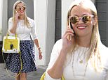 Beverly Hills, CA - Reese Witherspoon is spring ready in her own clothing line, Draper James. The blonde actress attends to business while leaving her office in a white top, a Draper James mid length skirt, yellow pumps, and a matching yellow Draper James bag.\nAKM-GSI        March 25, 2016\nTo License These Photos, Please Contact :\nSteve Ginsburg\n(310) 505-8447\n(323) 423-9397\nsteve@akmgsi.com\nsales@akmgsi.com\nor\nMaria Buda\n(917) 242-1505\nmbuda@akmgsi.com\nginsburgspalyinc@gmail.com