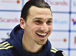 epa05232868 Swedish national soccer player Zlatan Ibrahimovic smiles during a press conference at Friends Arena in Stockholm, Sweden, on March 27, 2016, ahead of Tuesday's friendly soccer match against Czech Republic.  EPA/CLAUDIO BRESCIANI SWEDEN OUT