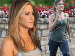 """Picture Shows: Jennifer Aniston  September 01, 2015.. .. Newlywed Jennifer Aniston films a workout scene for her new movie """"Mother's Day"""" in Atlanta, Georgia. Jennifer, having just returned from her honeymoon with her new husband Justin Theroux, will be joining fellow A-Listers Julia Roberts and Kate Hudson in this ensemble film... .. Non Exclusive.. UK RIGHTS ONLY.. .. Pictures by : FameFlynet UK © 2015.. Tel : +44 (0)20 3551 5049.. Email : info@fameflynet.uk.com"""