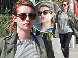 """Exclusive... 52005777 Emma Roberts picks up some lunch in Los Angeles on March 26, 2016. The actress recently switched her hair color from blonde to brown, or """"desert rose,"""" as she calls it. FameFlynet, Inc - Beverly Hills, CA, USA - +1 (310) 505-9876"""
