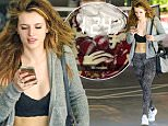 EXCLUSIVE TO INF.\nMarch 26, 2016: Bella Thorne flashes her new heart tattoo  and toned midriff in a crop top as she heads to the gym in Los Angeles, California. The 18-year-old actress and boyfriend Gregg Sulkin were seen get lunch together following her workout session.\nMandatory Credit: Mariotto/Chiva/INFphoto.com\nRef: infusla-244/276